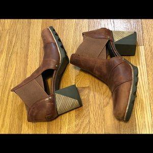 Sorel Brown Leather Addington Cutout Booties